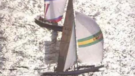 Australia II sailing around Fremantle