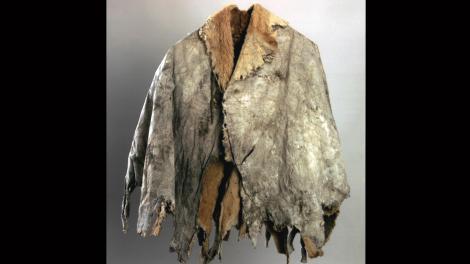 Mounted cloak made of kangaroo hides.