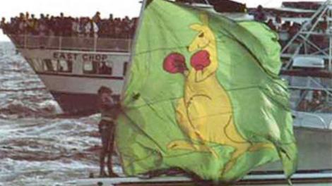 The iconic boxing kangaroo flag on the back of the Australia II