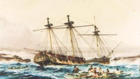 An artwork of the vessel HMAS Success
