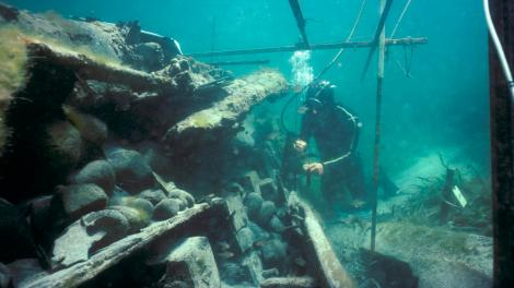 Divers exploring the James Matthews shipwreck site