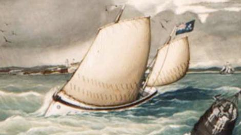 Watercolour depiction of two sail boats in a storm