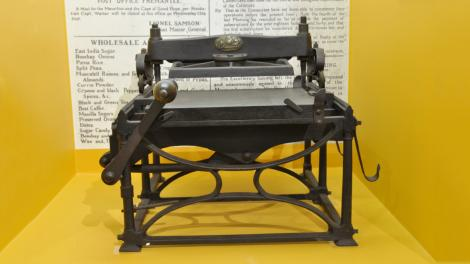 A large, old-style printing press