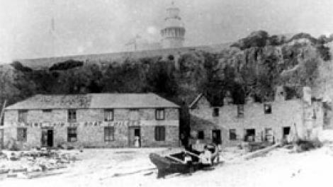 Mews boatyard, bathers bay as seen in the late 19th century