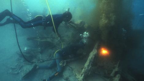 Divers exploring the SS Xantho wreck site