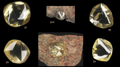 A series of yellow diamonds