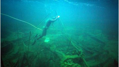 Underwater photograph of the James Matthews during archaeological excavations, 1976