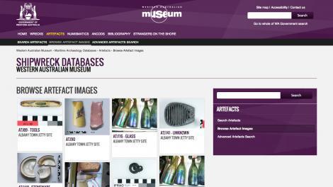 Screen grab of the shipwrecks artefacts database website