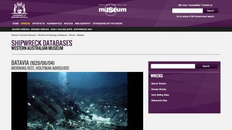 Screen grab of the Shipwrecks database website