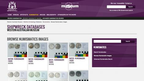 Screen grab of the Numismatics Database website