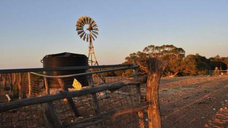 A sweeping view of an outback cattle station at sunset