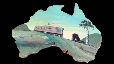 Revel Cooper painting of a cottage in the shape of Australia
