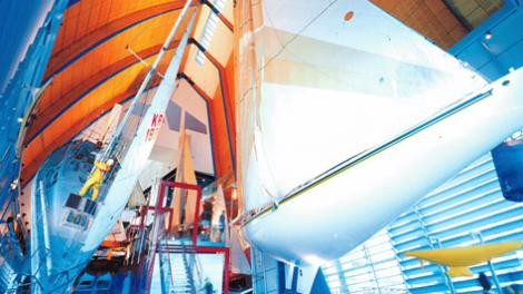 Australia II inside the Maritime Museum fremantle