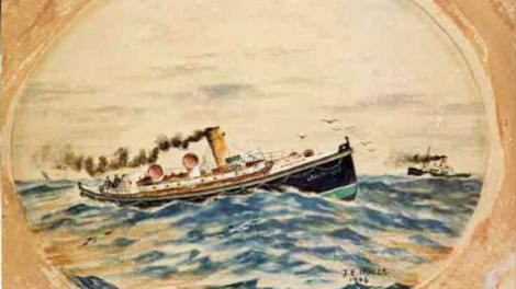 Artwork of the pilot boat Lady Forrest in high seas with a tug off the bow