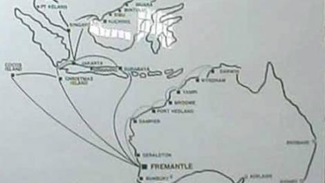 Simple map of Australia and Asia with the ship immigration routes