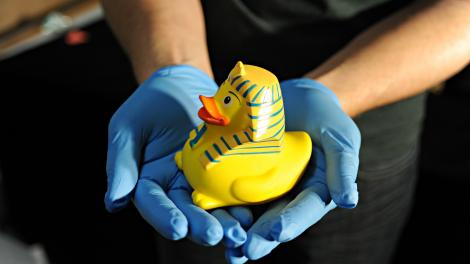 A rubber duck with sphinx headdress