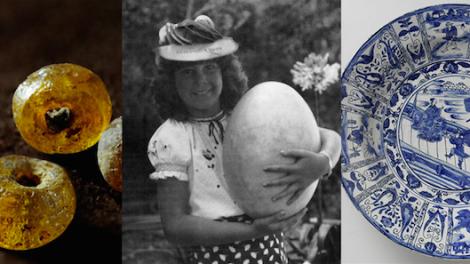 Batavia beads, elephant-bird eggs, china plate