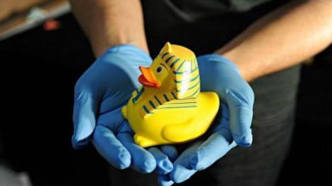 An Egyptian style yellow toy rubber duck