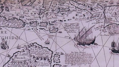 Hendrik Van Langren. Hartog Eendracht map. Fragment from 'Nova et Accurata, Toti