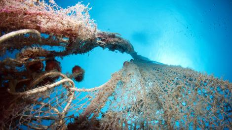 A discarded fishing net underwater