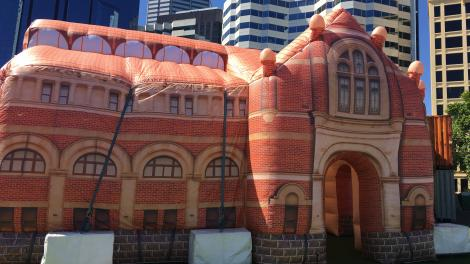 """A giant inflatable replicating the heritage part of the WA Museum-Perth site."""