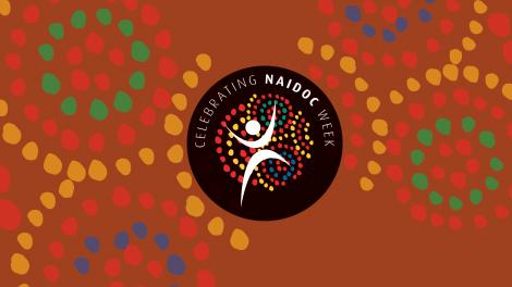 A banner image with indigenous artwork surrounding the NAIDOC week logo