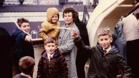 Stephen and his family on board the Fairstar in 1968 on their migration journey