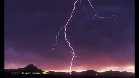 Caption: Lightning strike