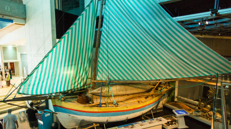 """An Indonesian fishing boat mounted in the Hooked on Fishing Gallery."""