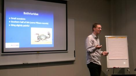 """Mark Harvey presenting the """"Creepy Crawlies"""" lecture"""