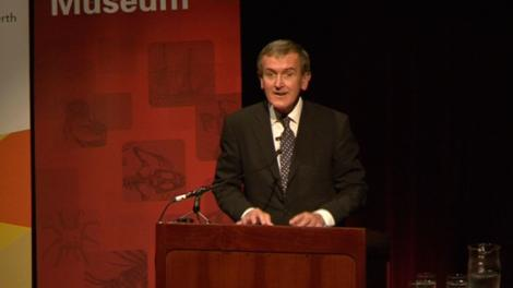 Neil MacGregor, Director, British Museum on stage giving his talk