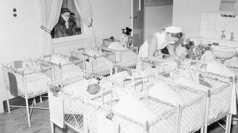 A crèche in a large metropolitan hospital, 1953.