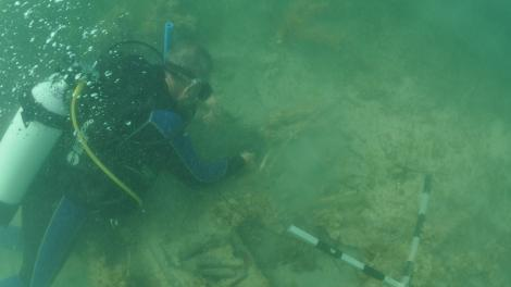 Western Australian Museum Maritime Archaeologist Michael 'Mack' McCarthy underwater, inspecting the wreck at 7 Mile Beach