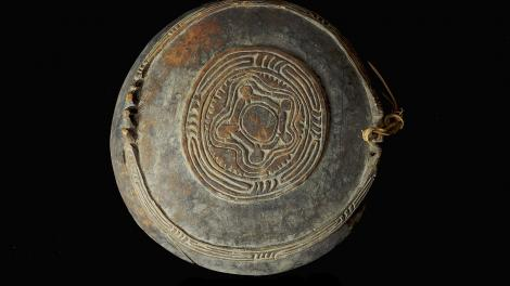 Finely carved food bowl from Murik Lakes that may be hung from a wall. Front View.
