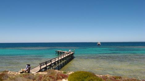 Jetty on East Wallabi island projects out into the ocean