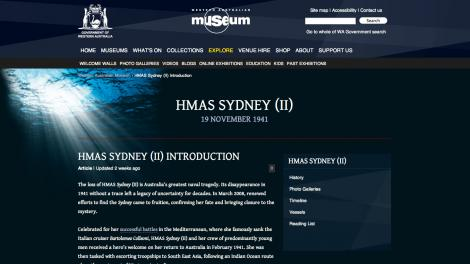 Screen grab from the HMAS Sydney (II) website