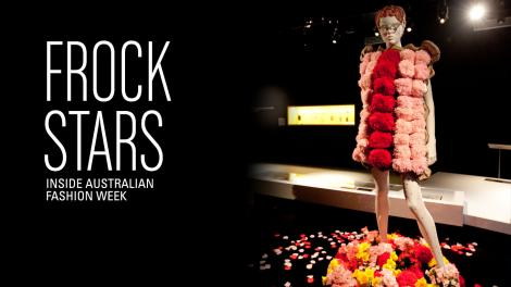 Frock Stars - Pink and red flower petal dress on a mannequin