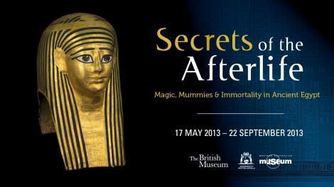 Golden cartonnage mummy-mask and exhibition logo