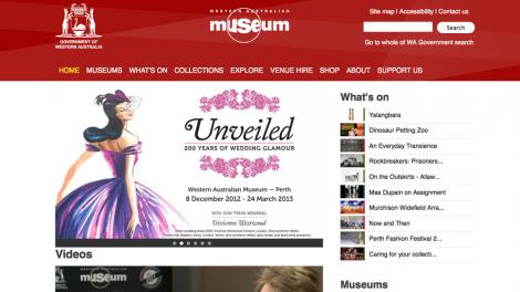 Screen grab from the WA Museum homepage in September 2012