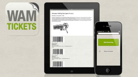 A graphic showing WAM Tickets running on an iPad and iPhone