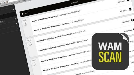 Screen shot showing the WAM Tickets App interface