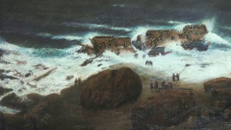 A painting depicting the wrecking of the Zuytdorp