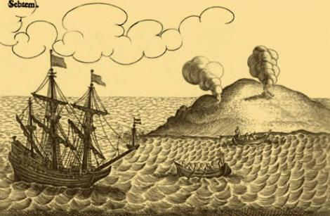 Woodblock image of the Batavia with small island in the background
