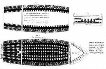 The stacking plan for slaves aboard the James Matthews