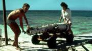 Bringing the cannon down the jetty