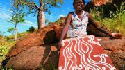 Aboriginal Artist Charlene Carrington at work near Warmun