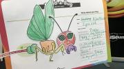 """""""A piece of paper with cut out sections of glued on it to create a strange bug-like creature with large butterfly wings and a small body."""""""