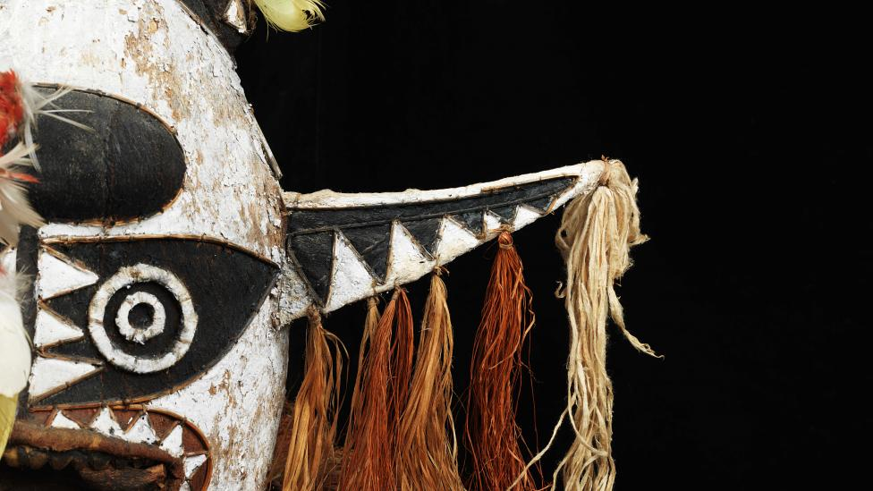 Partial view of the Western Australian Museums Eharo Mask, donated by Mr Kevin Lock