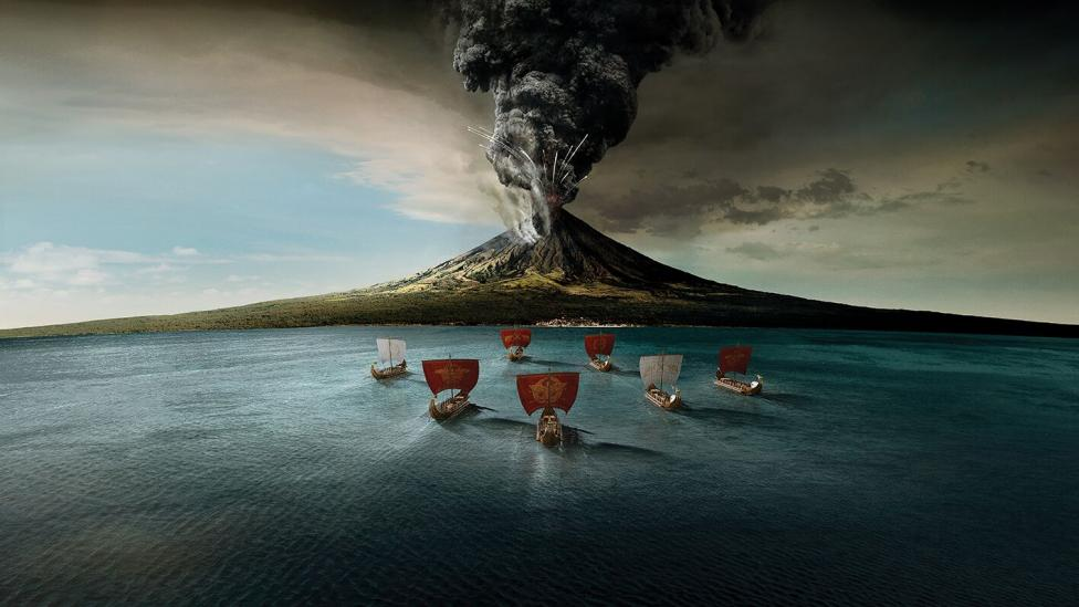 """""""An illustration of the Roman Navy heading to the base of Mount Vesuvius."""""""