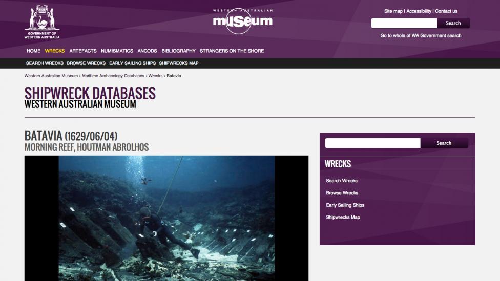 Screen grab of the Shipwrecks database website